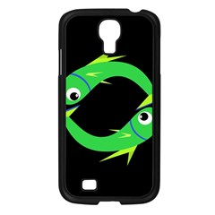 Green Fishes Samsung Galaxy S4 I9500/ I9505 Case (black) by Valentinaart