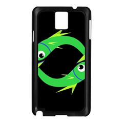 Green Fishes Samsung Galaxy Note 3 N9005 Case (black) by Valentinaart