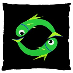 Green Fishes Large Flano Cushion Case (one Side) by Valentinaart