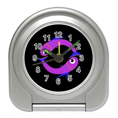 Purple Fishes Travel Alarm Clocks by Valentinaart
