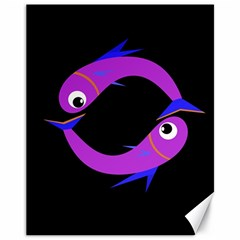 Purple Fishes Canvas 11  X 14   by Valentinaart