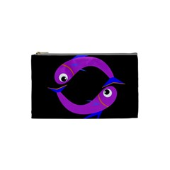 Purple Fishes Cosmetic Bag (small)  by Valentinaart