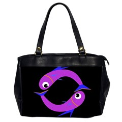 Purple Fishes Office Handbags (2 Sides)  by Valentinaart