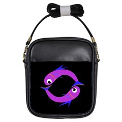 Purple Fishes Girls Sling Bags by Valentinaart
