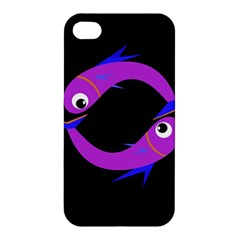 Purple Fishes Apple Iphone 4/4s Premium Hardshell Case by Valentinaart