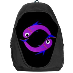 Purple Fishes Backpack Bag by Valentinaart