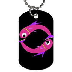Magenta fishes Dog Tag (One Side) by Valentinaart