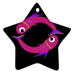 Magenta Fishes Star Ornament (two Sides)  by Valentinaart