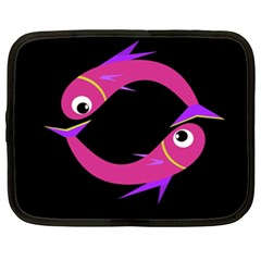 Magenta Fishes Netbook Case (xxl)  by Valentinaart