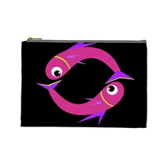 Magenta Fishes Cosmetic Bag (large)  by Valentinaart