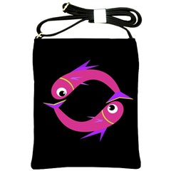 Magenta Fishes Shoulder Sling Bags by Valentinaart