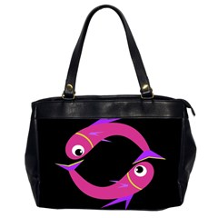 Magenta Fishes Office Handbags (2 Sides)  by Valentinaart