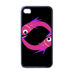 Magenta Fishes Apple Iphone 4 Case (black) by Valentinaart