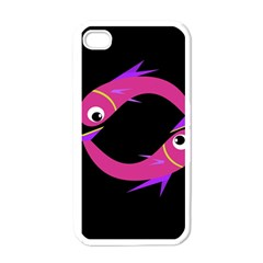 Magenta Fishes Apple Iphone 4 Case (white) by Valentinaart