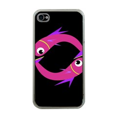Magenta Fishes Apple Iphone 4 Case (clear) by Valentinaart