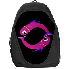 Magenta Fishes Backpack Bag by Valentinaart