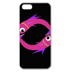 Magenta Fishes Apple Seamless Iphone 5 Case (clear) by Valentinaart