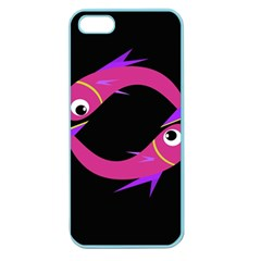 Magenta Fishes Apple Seamless Iphone 5 Case (color) by Valentinaart