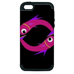 Magenta Fishes Apple Iphone 5 Hardshell Case (pc+silicone) by Valentinaart