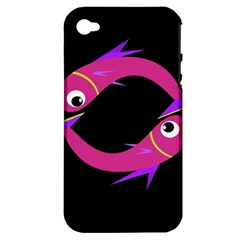 Magenta Fishes Apple Iphone 4/4s Hardshell Case (pc+silicone) by Valentinaart