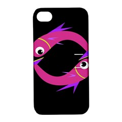 Magenta Fishes Apple Iphone 4/4s Hardshell Case With Stand by Valentinaart