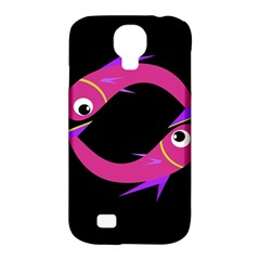 Magenta Fishes Samsung Galaxy S4 Classic Hardshell Case (pc+silicone) by Valentinaart