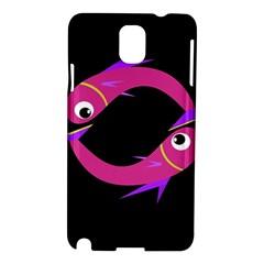 Magenta Fishes Samsung Galaxy Note 3 N9005 Hardshell Case by Valentinaart