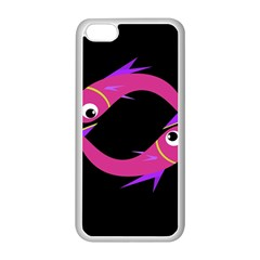 Magenta Fishes Apple Iphone 5c Seamless Case (white) by Valentinaart