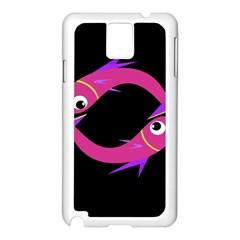 Magenta Fishes Samsung Galaxy Note 3 N9005 Case (white) by Valentinaart