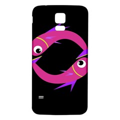 Magenta Fishes Samsung Galaxy S5 Back Case (white) by Valentinaart