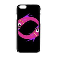 Magenta Fishes Apple Iphone 6/6s Black Enamel Case by Valentinaart