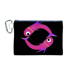 Magenta Fishes Canvas Cosmetic Bag (m) by Valentinaart