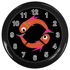 Orange Fishes Wall Clocks (black) by Valentinaart