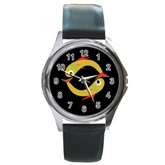 Yellow Fishes Round Metal Watch by Valentinaart