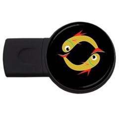Yellow Fishes Usb Flash Drive Round (2 Gb)  by Valentinaart