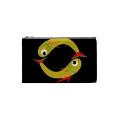 Yellow Fishes Cosmetic Bag (small)  by Valentinaart
