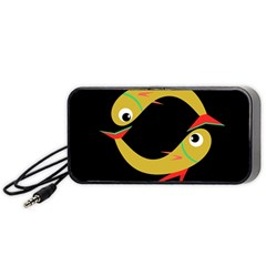 Yellow Fishes Portable Speaker (black)  by Valentinaart