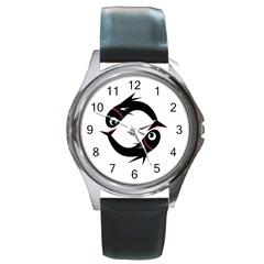 Black Fishes Round Metal Watch by Valentinaart