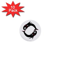 Black Fishes 1  Mini Buttons (10 Pack)  by Valentinaart
