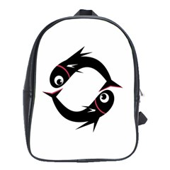 Black Fishes School Bags(large)  by Valentinaart