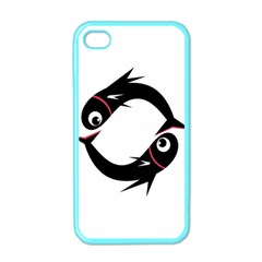Black Fishes Apple Iphone 4 Case (color) by Valentinaart