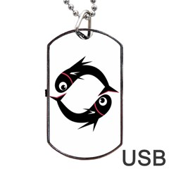 Black Fishes Dog Tag Usb Flash (two Sides)  by Valentinaart