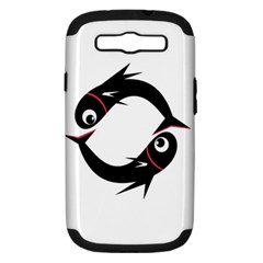 Black Fishes Samsung Galaxy S Iii Hardshell Case (pc+silicone) by Valentinaart