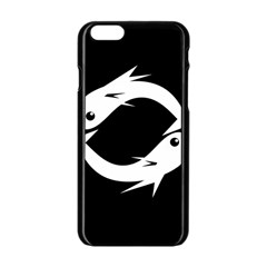 White Fishes Apple Iphone 6/6s Black Enamel Case by Valentinaart