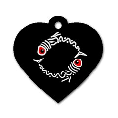 Abstract Fishes Dog Tag Heart (two Sides) by Valentinaart