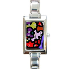 Colorful Abstraction By Moma Rectangle Italian Charm Watch by Valentinaart