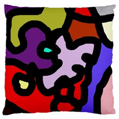 Colorful Abstraction By Moma Large Flano Cushion Case (one Side) by Valentinaart