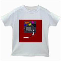 Red Abstraction By Moma Kids White T Shirts by Valentinaart