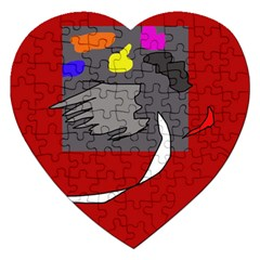 Red abstraction by Moma Jigsaw Puzzle (Heart) by Valentinaart