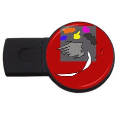 Red Abstraction By Moma Usb Flash Drive Round (4 Gb)  by Valentinaart